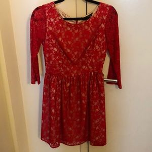 Red lace French Connection dress